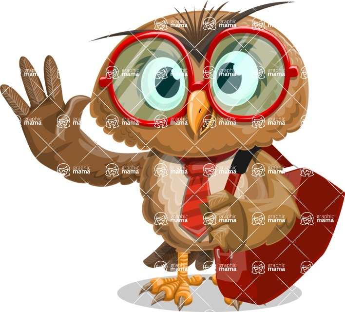 Owl with a Tie Cartoon Vector Character AKA Owlbert Witty - Travel 2
