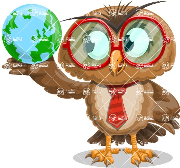 Owl with a Tie Cartoon Vector Character AKA Owlbert Witty - Globus