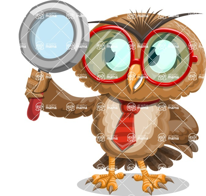 Owl with a Tie Cartoon Vector Character AKA Owlbert Witty - Search