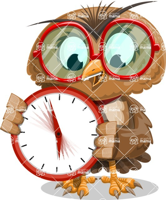 Owl with a Tie Cartoon Vector Character AKA Owlbert Witty - Time is Yours