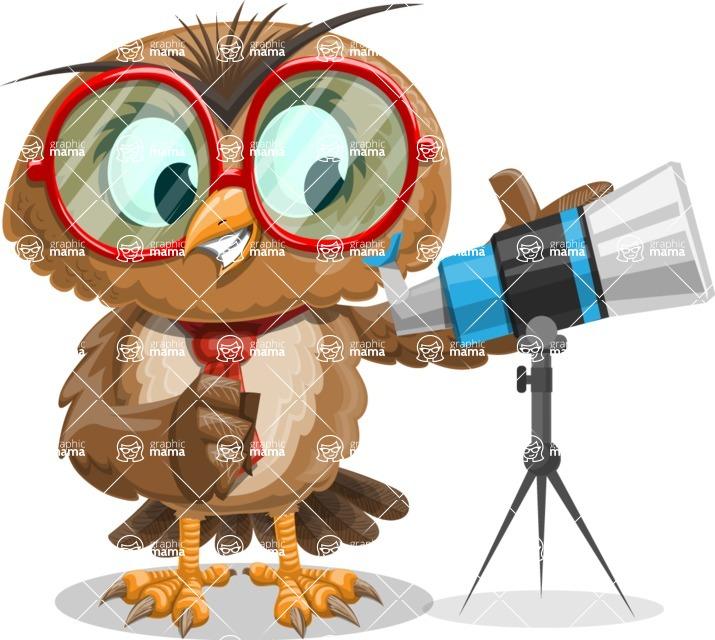 Owl with a Tie Cartoon Vector Character AKA Owlbert Witty - Telescope