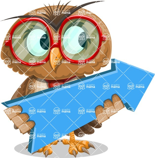 Owl with a Tie Cartoon Vector Character AKA Owlbert Witty - Pointer 2