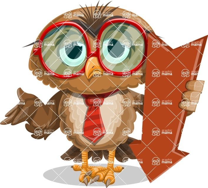 Owl with a Tie Cartoon Vector Character AKA Owlbert Witty - Pointer 3