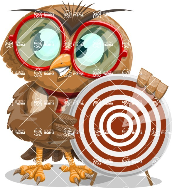 Owl with a Tie Cartoon Vector Character AKA Owlbert Witty - Target