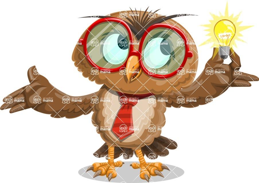 Owl with a Tie Cartoon Vector Character AKA Owlbert Witty - Idea 1
