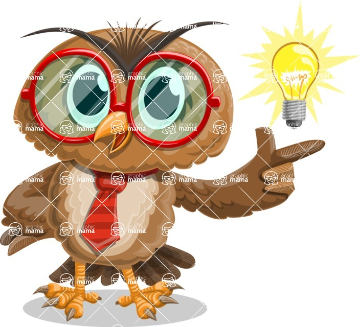 Owl with a Tie Cartoon Vector Character AKA Owlbert Witty - Idea 2