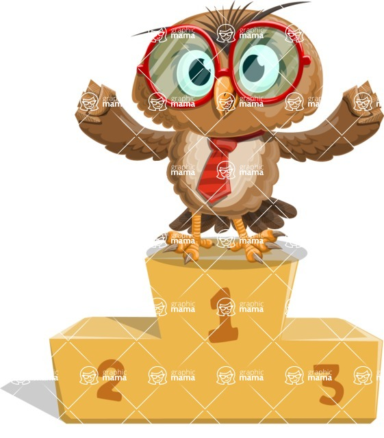 Owl with a Tie Cartoon Vector Character AKA Owlbert Witty - On Top