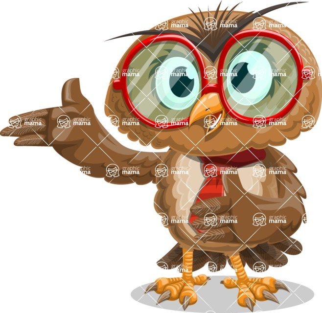 Owl with a Tie Cartoon Vector Character AKA Owlbert Witty - Show 2
