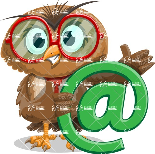 Owl with a Tie Cartoon Vector Character AKA Owlbert Witty - Email