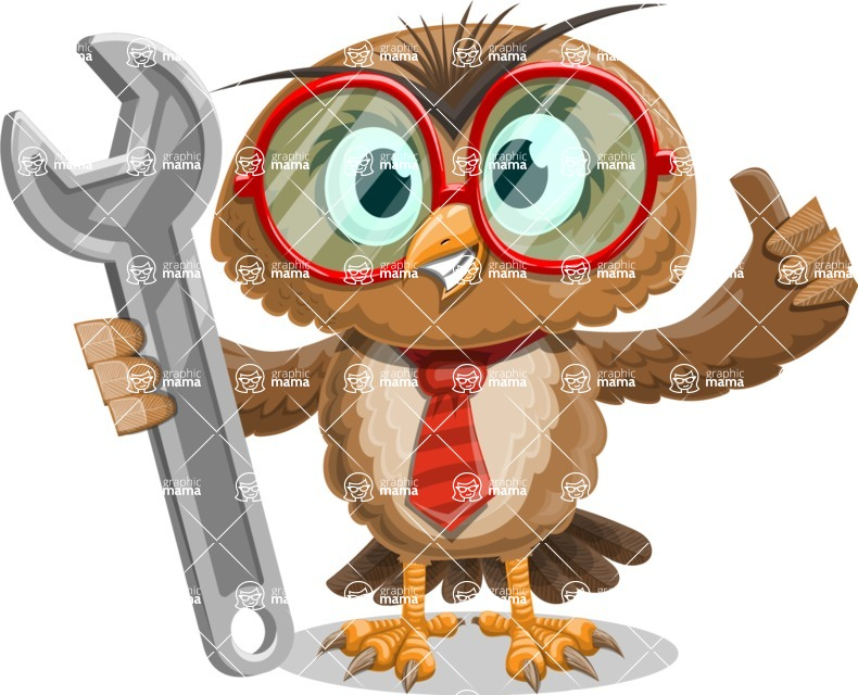 Owl with a Tie Cartoon Vector Character AKA Owlbert Witty - Repair