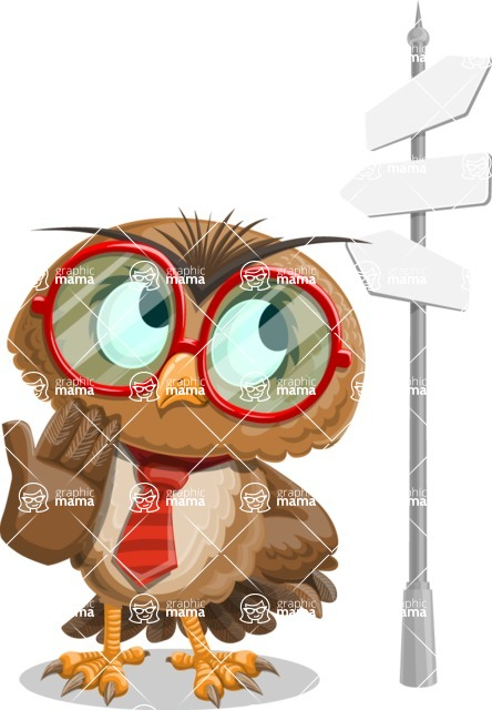 Owl with a Tie Cartoon Vector Character AKA Owlbert Witty - Crossroad