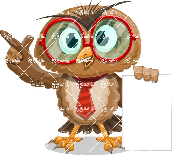 Owl with a Tie Cartoon Vector Character AKA Owlbert Witty - Sign 2