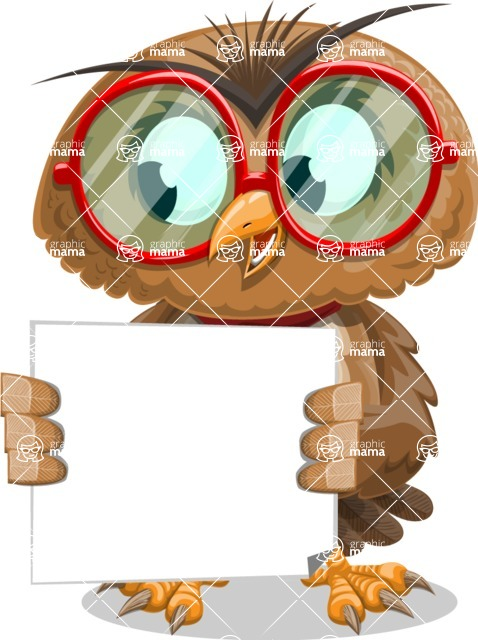 Owl with a Tie Cartoon Vector Character AKA Owlbert Witty - Sign 3