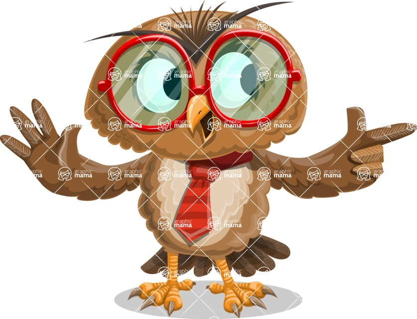 Owl with a Tie Cartoon Vector Character AKA Owlbert Witty - Point