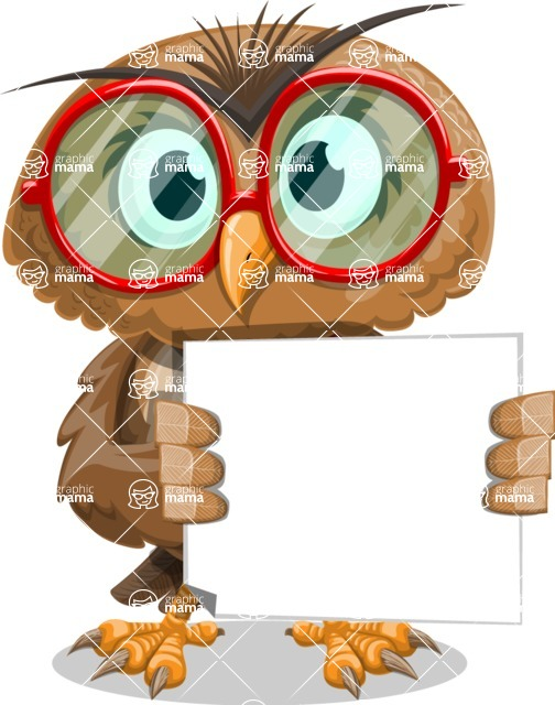 Owl with a Tie Cartoon Vector Character AKA Owlbert Witty - Sign 4