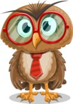 Owl with a Tie Cartoon Vector Character AKA Owlbert Witty - Normal