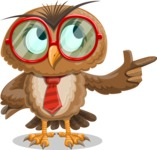 Owl with a Tie Cartoon Vector Character AKA Owlbert Witty - Point 2