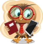 Owl with a Tie Cartoon Vector Character AKA Owlbert Witty - Shape 5