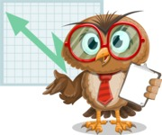 Owl with a Tie Cartoon Vector Character AKA Owlbert Witty - Shape 6