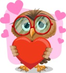 Owl with a Tie Cartoon Vector Character AKA Owlbert Witty - Shape 7
