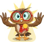 Owl with a Tie Cartoon Vector Character AKA Owlbert Witty - Shape 8