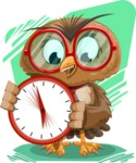 Owl with a Tie Cartoon Vector Character AKA Owlbert Witty - Shape 11