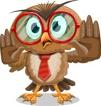 Owl with a Tie Cartoon Vector Character AKA Owlbert Witty - Stop