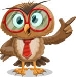 Owl with a Tie Cartoon Vector Character AKA Owlbert Witty - Attention