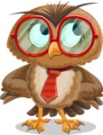 Owl with a Tie Cartoon Vector Character AKA Owlbert Witty - Roll Eyes