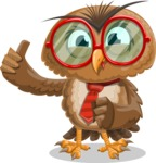 Owl with a Tie Cartoon Vector Character AKA Owlbert Witty - Silly Face