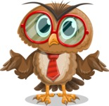Owl with a Tie Cartoon Vector Character AKA Owlbert Witty - Confused