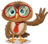 Owl with a Tie Cartoon Vector Character AKA Owlbert Witty - GoodBye