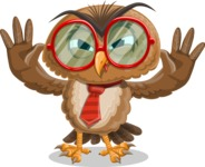 Owl with a Tie Cartoon Vector Character AKA Owlbert Witty - Making Face