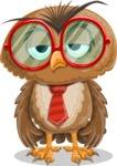 Owl with a Tie Cartoon Vector Character AKA Owlbert Witty - Bored