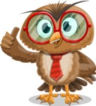 Owl with a Tie Cartoon Vector Character AKA Owlbert Witty - Thumbs Up