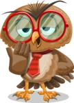 Owl with a Tie Cartoon Vector Character AKA Owlbert Witty - Bored 2