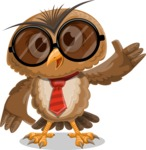 Owl with a Tie Cartoon Vector Character AKA Owlbert Witty - Sunglasses