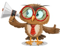 Owl with a Tie Cartoon Vector Character AKA Owlbert Witty - Loudspeaker