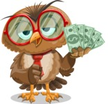Owl with a Tie Cartoon Vector Character AKA Owlbert Witty - Show me the Money