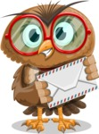 Owl with a Tie Cartoon Vector Character AKA Owlbert Witty - Letter
