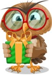 Owl with a Tie Cartoon Vector Character AKA Owlbert Witty - Gift