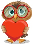 Owl with a Tie Cartoon Vector Character AKA Owlbert Witty - Love