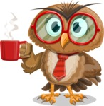 Owl with a Tie Cartoon Vector Character AKA Owlbert Witty - Coffee