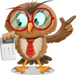 Owl with a Tie Cartoon Vector Character AKA Owlbert Witty - Calculator