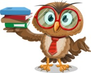 Owl with a Tie Cartoon Vector Character AKA Owlbert Witty - Book 2
