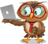 Owl with a Tie Cartoon Vector Character AKA Owlbert Witty - Laptop 1