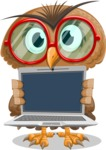 Owl with a Tie Cartoon Vector Character AKA Owlbert Witty - Laptop 2