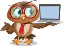 Owl with a Tie Cartoon Vector Character AKA Owlbert Witty - Laptop 3