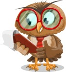 Owl with a Tie Cartoon Vector Character AKA Owlbert Witty - Notepad 3