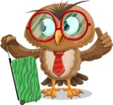 Owl with a Tie Cartoon Vector Character AKA Owlbert Witty - Travel 1